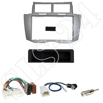 Toyota Yaris 2007-2011 Radioblende +Fach silber +ISO Adapter+Antennenadapter Set