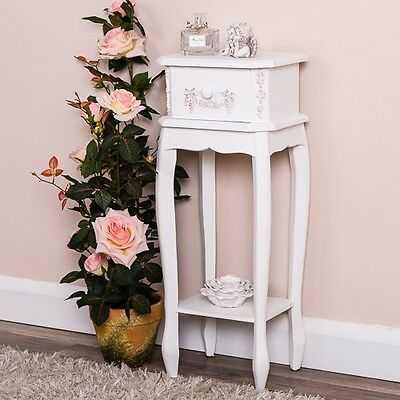 Antique White Bedside Table Bedroom Furniture French Shabby Vintage Chic Home