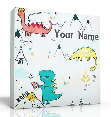 Deep Edge Canvas Picture Dylan The  Dinosaur Can Be Personalised Free P&pnew