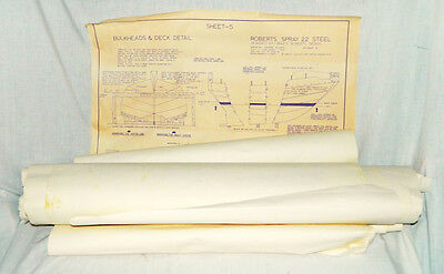 1980s Lot of 28 BRUCE ROBERTS blue prints plans, Roberts Spray 22, Dinghy listed