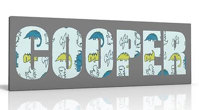 Personalised Canvas Picture Wall Art Dylan The Dinosaur Kids Free P&p New