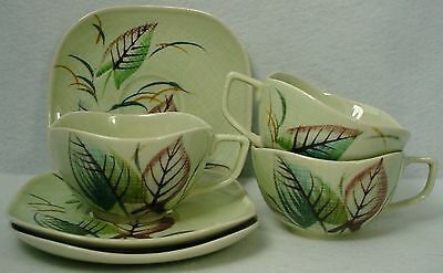JAPAN china VERANO Orient Ware pattern CUP & SAUCER Set of 3 Handpainted crazing