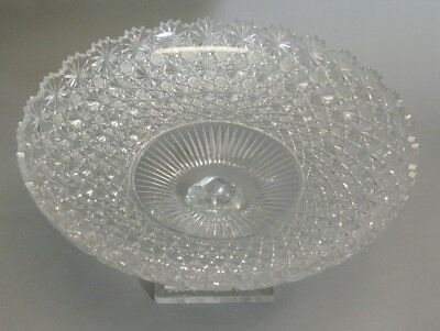 """Meticulously Hand-Cut 14"""" Eastern European Crystal Compote Bowl    Age Unknown"""
