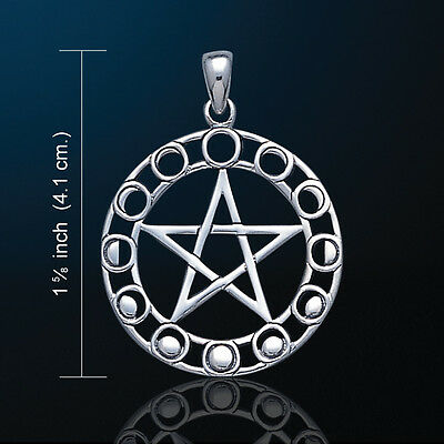 White Bronze Moon Phase Pentacle  Wiccan Pagan