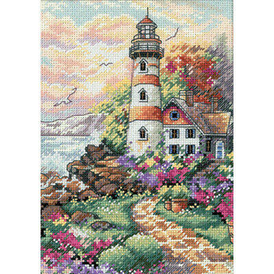 """""""Gold Petite Beacon At Daybreak Counted Cross Stitch Kit-5""""""""X7"""""""" 18 Count"""""""