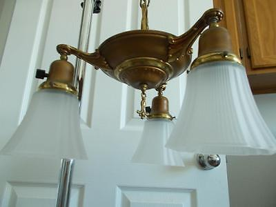 Antique 3 arm SOLID BRASS CHANDELIER Hanging ceiling LIGHT Fixture w/glass shade