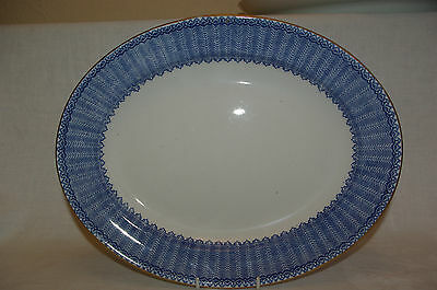 "13"" Meat Serving Plate Platter George Jones Ironstone Cassino Flow Blue & White"