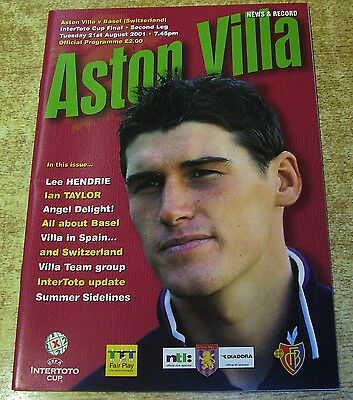 2001 INTERTOTO CUP FINAL - ASTON VILLA v BASEL