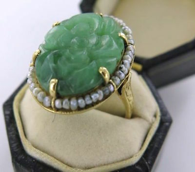 .early 1900'S 14K Gold, Carved Jade / Jadeite, Seed Pearls Ring. Ex Estate.