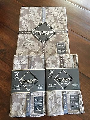 """Waterford 9-pc Oakleaf Tablecloth 60"""" x 126"""" & Napkins Stain Resistant Taupe NWT"""