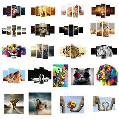 5PC Unframed HD Canvas Prints Wall Art Animal Painting Picture Poster Decoration