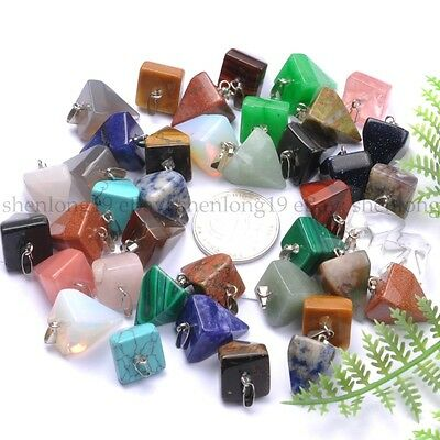 Natural Gemstones Tetragonal Pointed Reiki Chakra Pendant Beads Necklace Earring