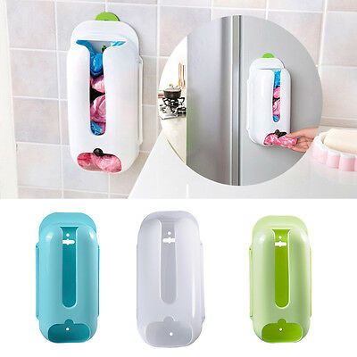 Wall Mount Plastic Carrier Bag Storage Container Holder Organizer Box New