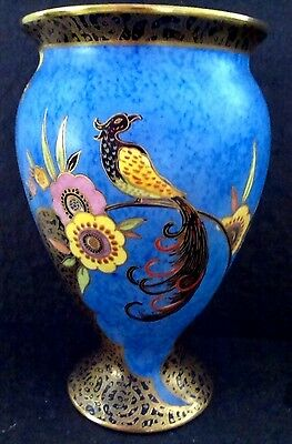 "carlton ware ""feathertailed bird and flower"" shape 406 - 20. cm vase"