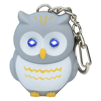 Cute Novelty Grey Hooting Light Up Owl Keyring - By TRIXES