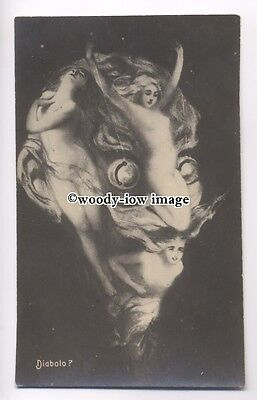 su2424 - Fantasy Head made up from young naked women - Diabolo - postcard