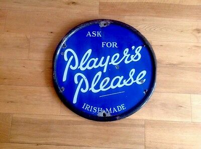 Vintage Enamel Sign RARE Ask For Players Please Irish Made
