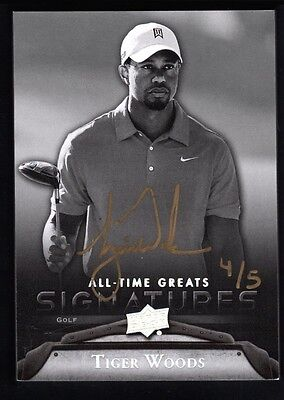 Tiger Woods 2012 Ud Upper Deck All Time Greats Gold Ink Autograph Sp Auto #4/5