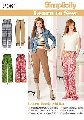 Simplicity Learn To Sew SEWING PATTERN 2061 Misses Trousers/Pants 6-18
