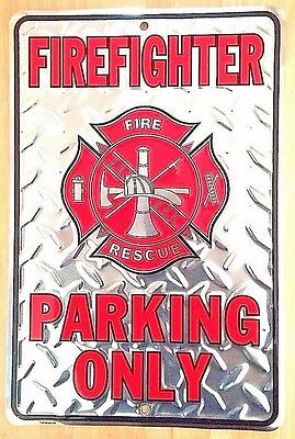 "FIREFIGHTER PARKING ONLY Silver Diamond Plate Metal PARKING SIGN - 12"" x 18"""