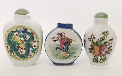 3 Vintage Chinese Snuff Bottle Lot Group Porcelain Painted Dragon Floral Flowers