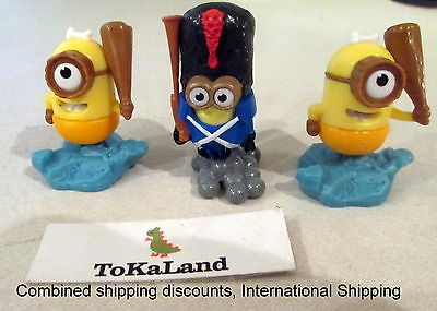"A1-2 KINDER surprise egg toy figure MINIONS Soldier & Caveman Lot of 3 1.5"" Tall"