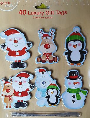 Christmas GiftTags Traditional Luxury Glitter Santa Handcrafted Various Designs