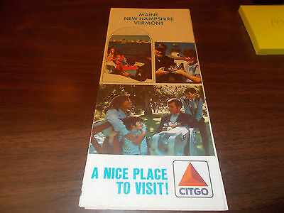 1972 Citgo Maine/New Hampshire/Vermont Vintage Road Map