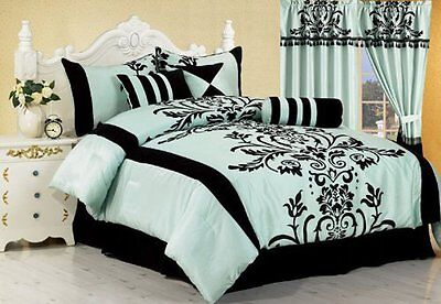 7-Piece Aqua with Black Flocking Floral Comforter Set Bed-in-a-Bag Queen