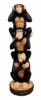 Stacked See Hear Speak No Evil Monkeys Three Wise Apes Of The Jungle Figurine 8""