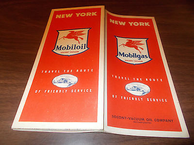 1940s Mobil New York Vintage Road Map