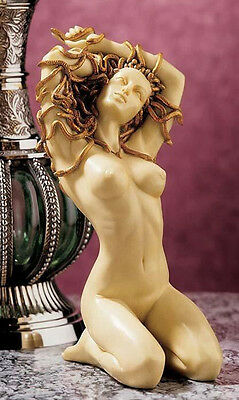 Nude Woman Sculpture Medusa With Head of Snakes Statue Ornament by O Tupton NEW