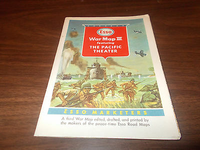 1940s Esso World War II War Map Vintage Road Map Featuring Pacifc Theater