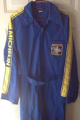 Vintage Michelin Swingster Coveralls Blue Size Large Long Sleeve Bibendum Patch