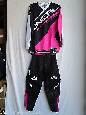 Women's adult motocross combo set;THOR PHASE BONNIE pants 3/4,ONEAL jersey MED