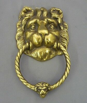 Vintage Lion Head Knocker Heavy Ornate Solid Brass Large Detailed
