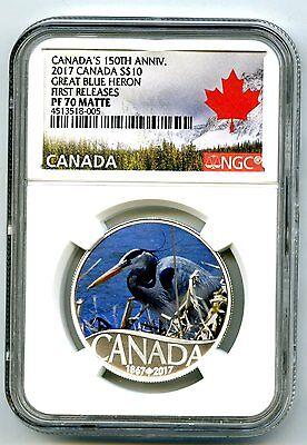 2017 $10 Canada 150Th Silver Proof Ngc Pf70 First Releases Great Blue Heron