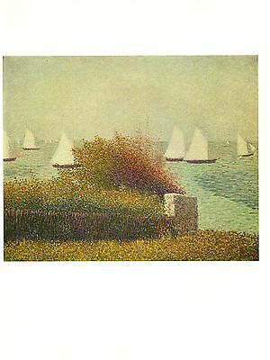 "1968 Vintage SEURAT /""FISHERMEN/"" COLOR offset Lithograph"