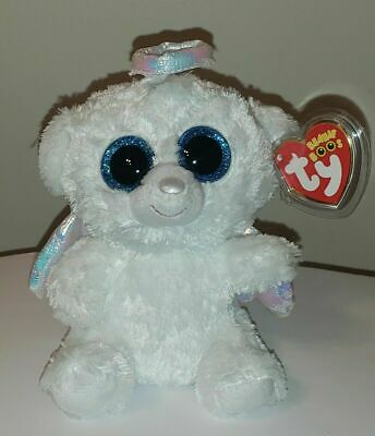 "Ty Beanie Boos ~ HALO the 6"" Angel Bear ~ 2014 NEW ~MINT with MINT TAGS ~RETIRED"
