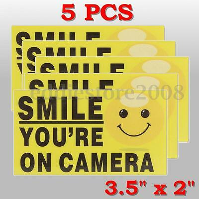 5x SMILE YOU'RE ON CAMERA STICKER VIDEO ALARM SECURITY SYSTEM DECAL WARNING SIGN