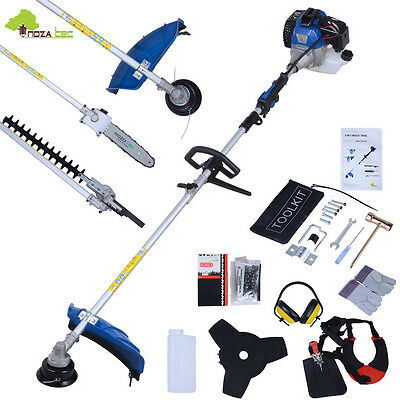 52cc 5 in 1 Petrol Tool Hedge Trimmer Chainsaw Strimmer Brushcutter Garden Blue