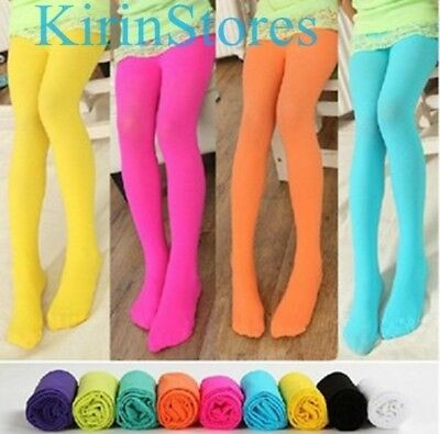 Girls Candy Opaque Tights Pantyhose Hosiery Ballet Dance Stockings Long Socks