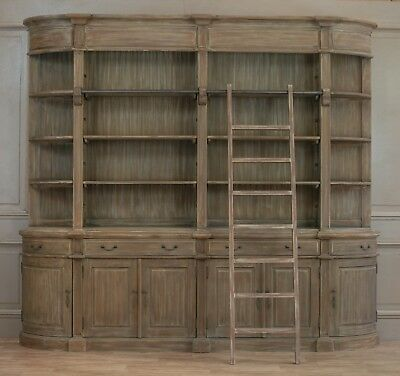 Rivieren Classical Extra Large Wooden Double Library Bookcase with Ladder