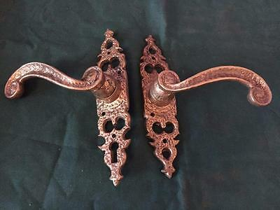 Pair Of Vintage Reclaimed Decorative Brass Door Handles