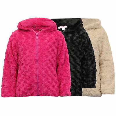Girls Jacket Kids Coat Knitted Hooded Faux Fur Lined Zip Casual Fashion Winter
