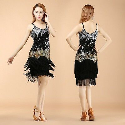 Latin salsa tango Chacha Ballroom Competition Sequined Tassel Dance Dress Outfit