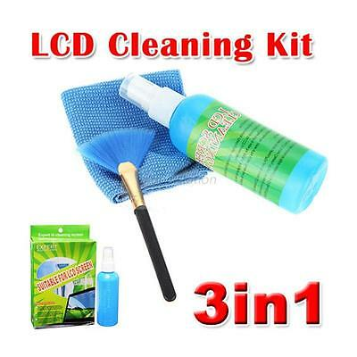 3 in 1 PC Laptop LED LCD Monitor Screen Plasma Cleaner Cleaning Cloth Brush Kits