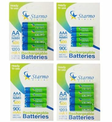 Starmo 8 x AAA MN2400 or 8 x AA MN1500 Rechargeable Batteries NiMH Ready To Use