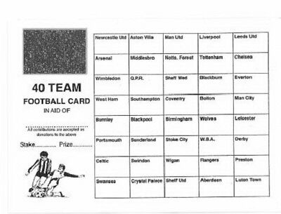 50 Football Scratch & Match Cards 40 Teams Names Named Fundraising Charity Event