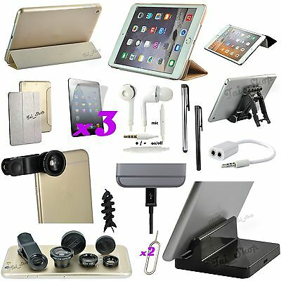 16 in 1 Accessory Bundle Gold Leather Case Fish Eye Dock Charger For iPad Mini 3